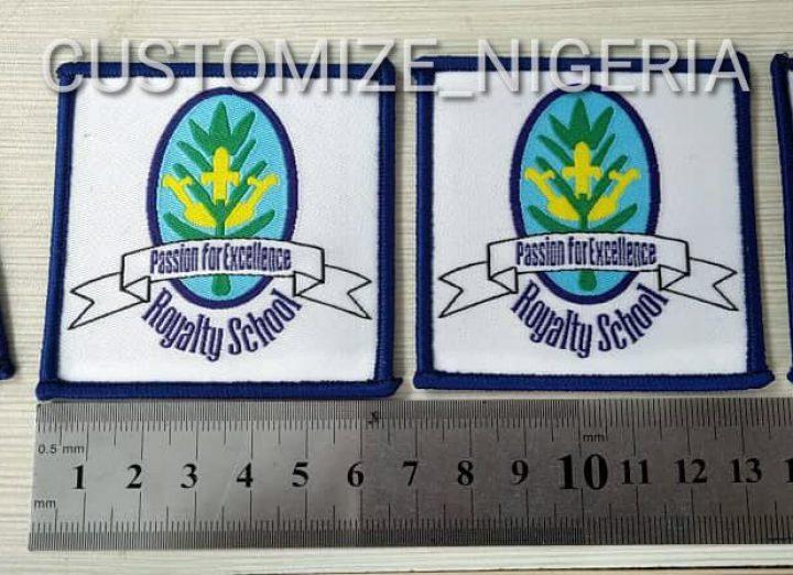 Woven school badges in Nigeria